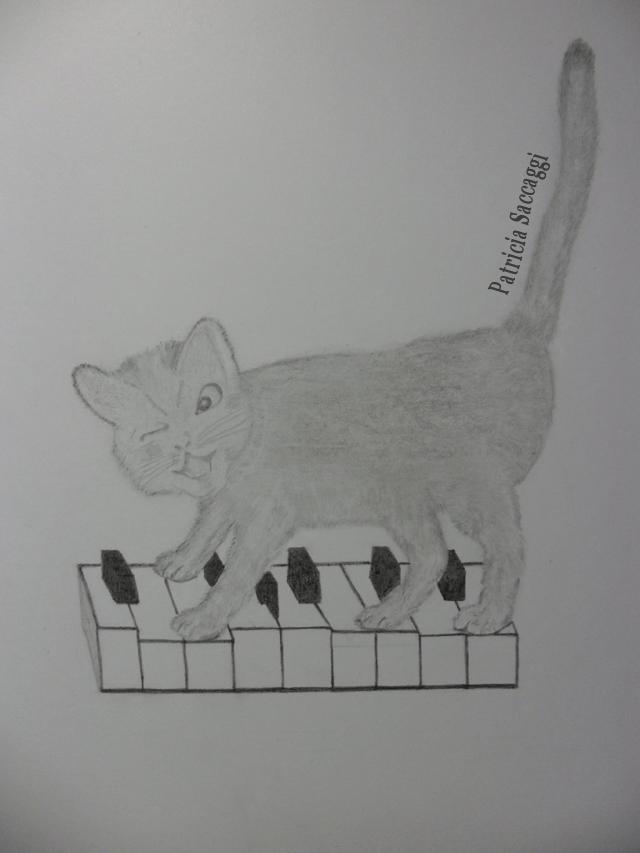 Dessin que j'ai fait au crayon Le chat qui jouait des pattes sur les touches