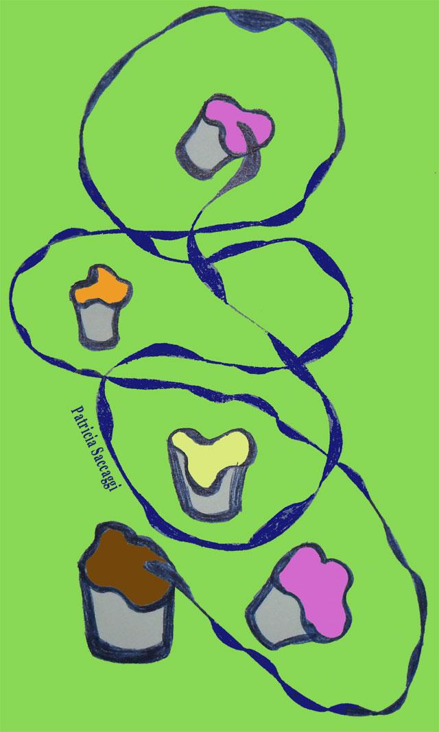 Dessin au stylo et colorisé via Photoshop Glaces en pot