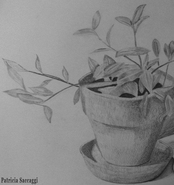 Dessin que j'ai fait au crayon Pot de fleur pour hommage