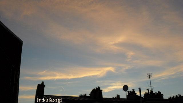 Photo du ciel Traînées roses