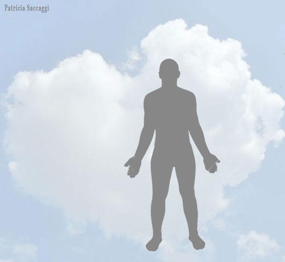 Photo de mon nuage cœur avec silhouette.