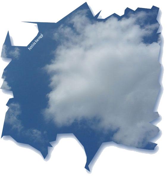 Mousse blanche sur la toile bleue