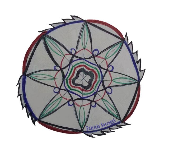 La roue en disqueuse dessin intuitif mandala