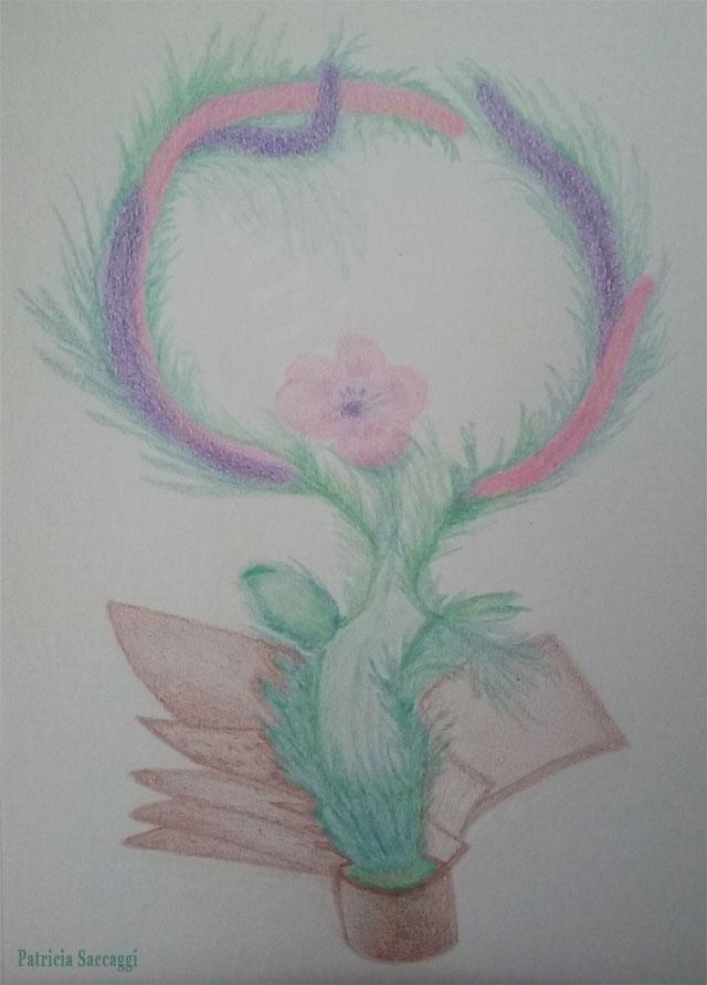 La fleur qui jaillit Dessin improvisé que j'ai fait aux crayons de couleur