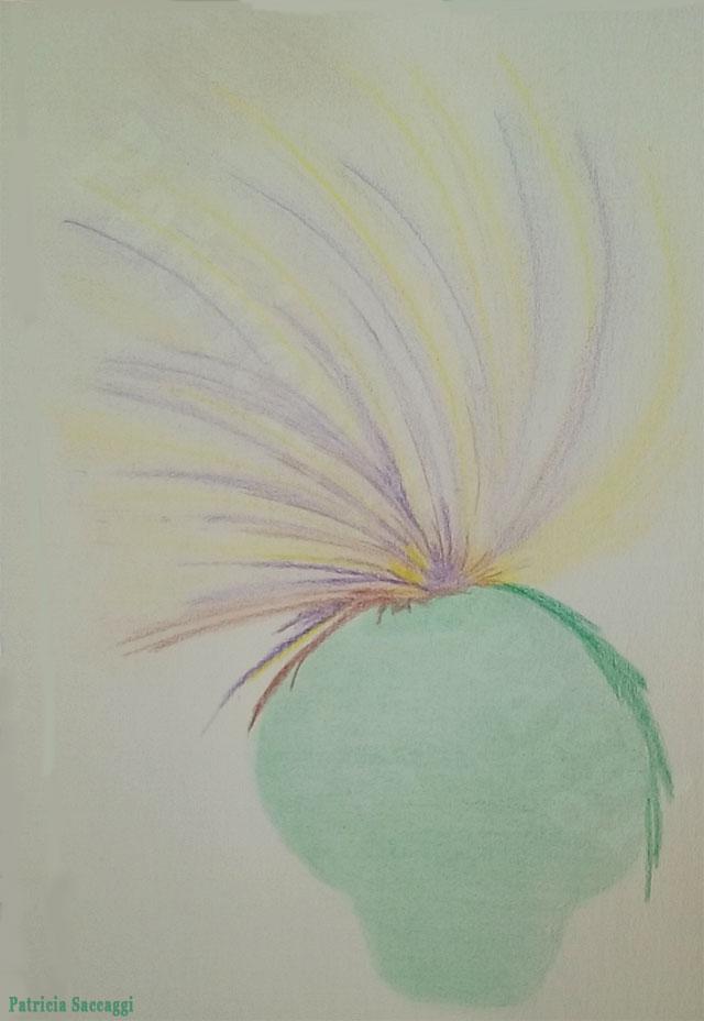 Le bouquet flammes dans le vase Dessin improvisé que j'ai fait aux crayons de couleur