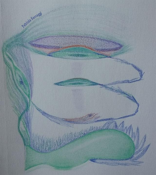 Énergies transmutées Dessin improvisé que j'ai fait aux crayons de couleur