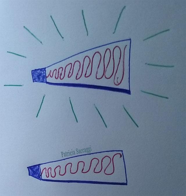 Esquisse que j'ai faite  pour mon texte Les tubes mat et brillant
