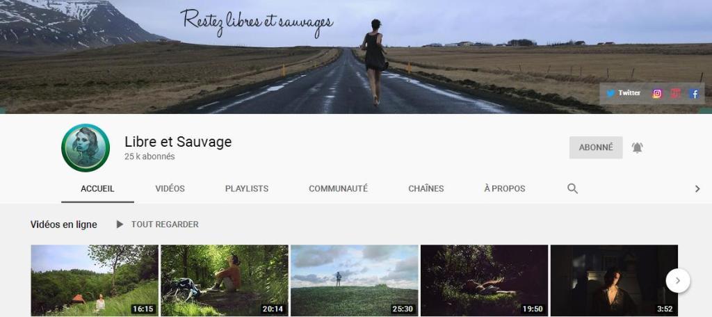 Chaîne sur la vie d'Orlane Paquet 'libre et sauvage'