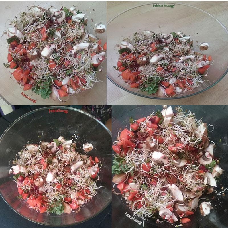 Plat cru de légumes et graines germées