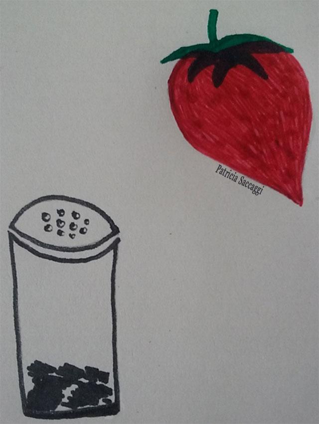 Dessins fraise et salière pour sucré et salé