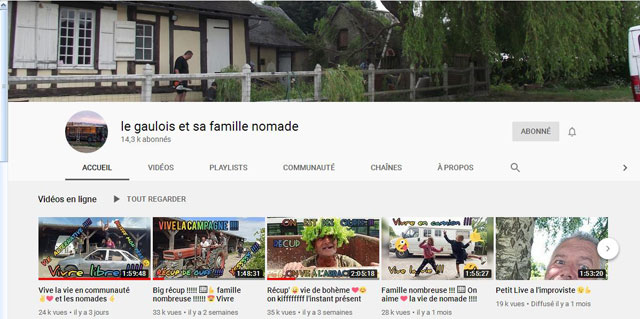 Chaîne You Tube d'une famille nomade