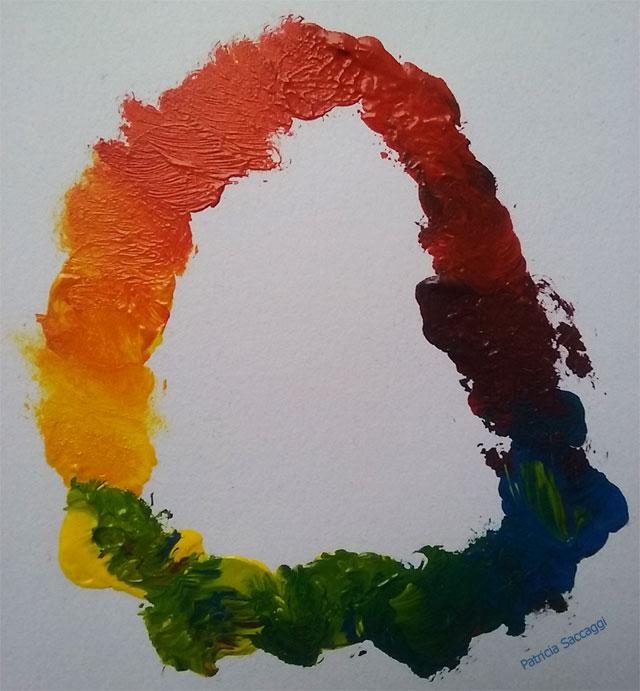 Mélanges que je fais pour mon cercle chromatique.