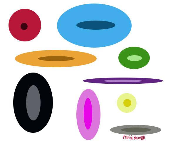Cercles et ovales colorés que j'ai fait avec Photoshop.