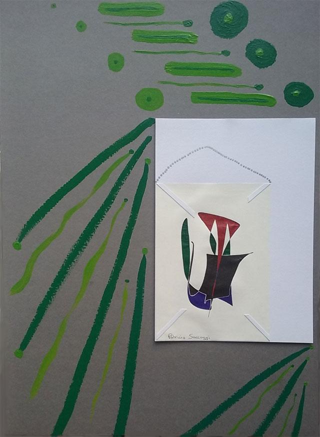 Ajout de peinture acrylique sur nouveau format A3 pour encadrer mes dessins intuitifs.