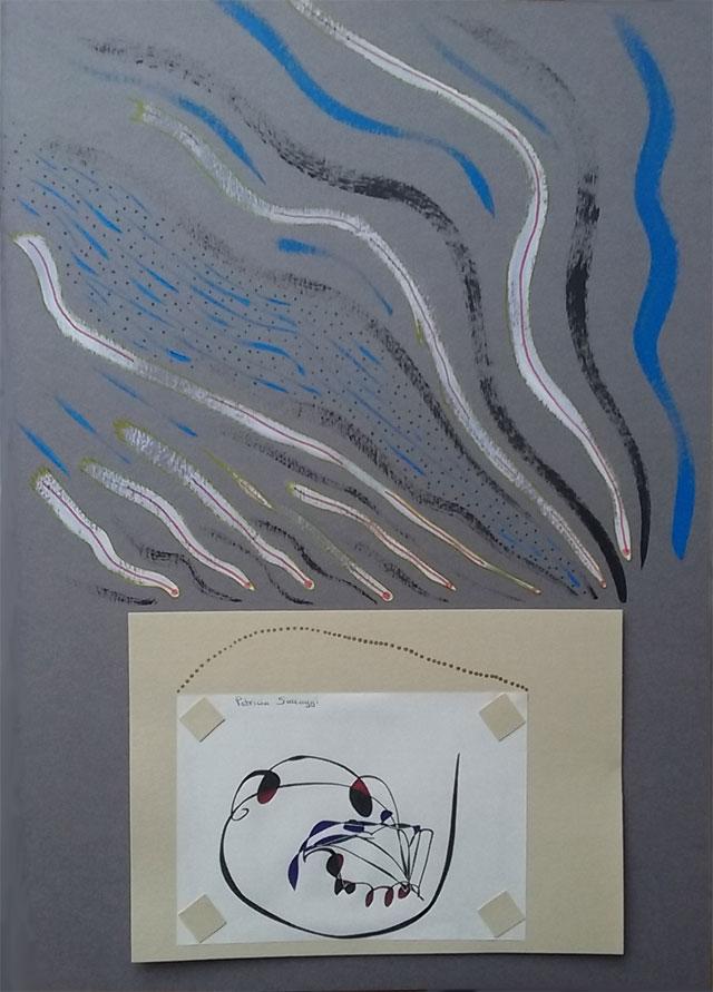 Ajout de peinture acrylique et feutres sur nouveau format A3 pour encadrer mes dessins intuitifs.