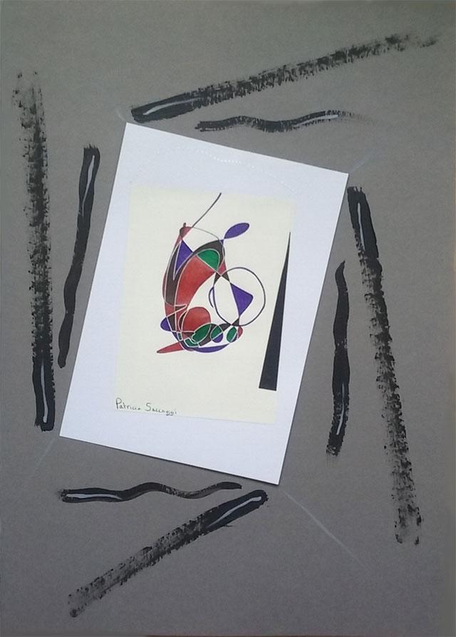 Ajout de peinture acrylique sur nouveau format A4 pour encadrer mes dessins intuitifs.