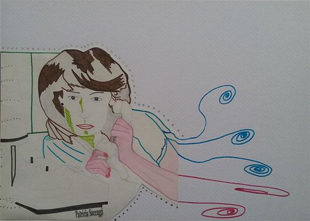 Dessin que j'ai fait au crayon à papier et que j'ai habillé avec des feutres, des crayons de couleur, de l'encre de Chine et du marqueur.