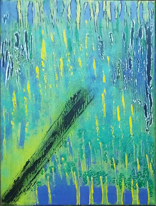 Peinture acrylique sur toile 30*40 que j'ai faite au rouleau, au spalter, au couteau et au pinceau.