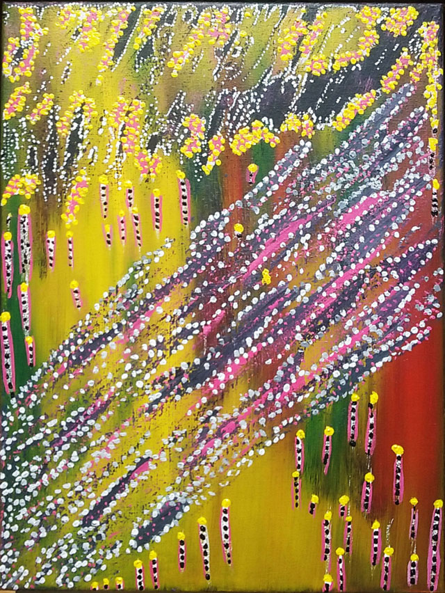 Peinture acrylique abstraite que j'ai faite sur une toile de 30*40 avec des mélanges personnels appliqués au spalter, au couteau et aux pinceaux.