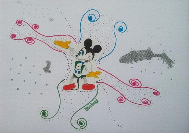 Dessin que j'ai fait au crayon à papier et que j'ai habillé avec des feutres, de l'encre de Chine et du marqueur.
