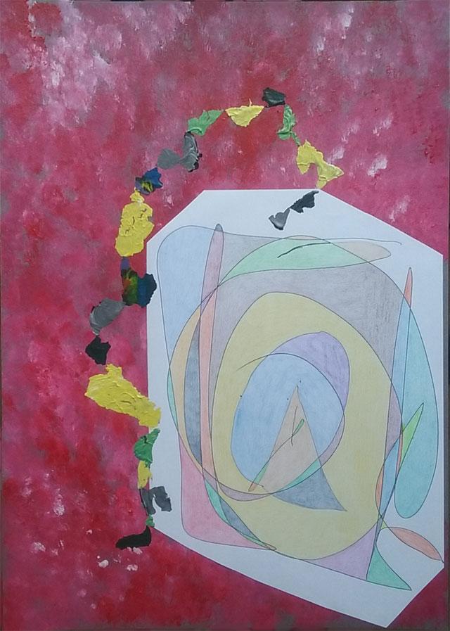 Dessin abstrait/peinture que j'ai fait façon patchwork.
