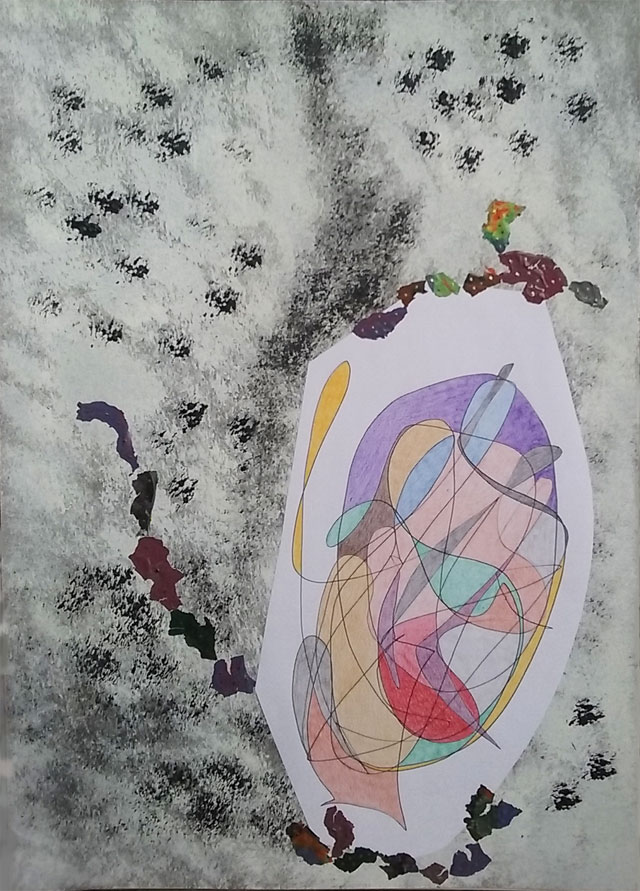 Dessin intuitif que j'ai fait au crayon papier et aux crayons de couleur avec ajout de résidus de peinture. Sur papier cartonné au format A3.