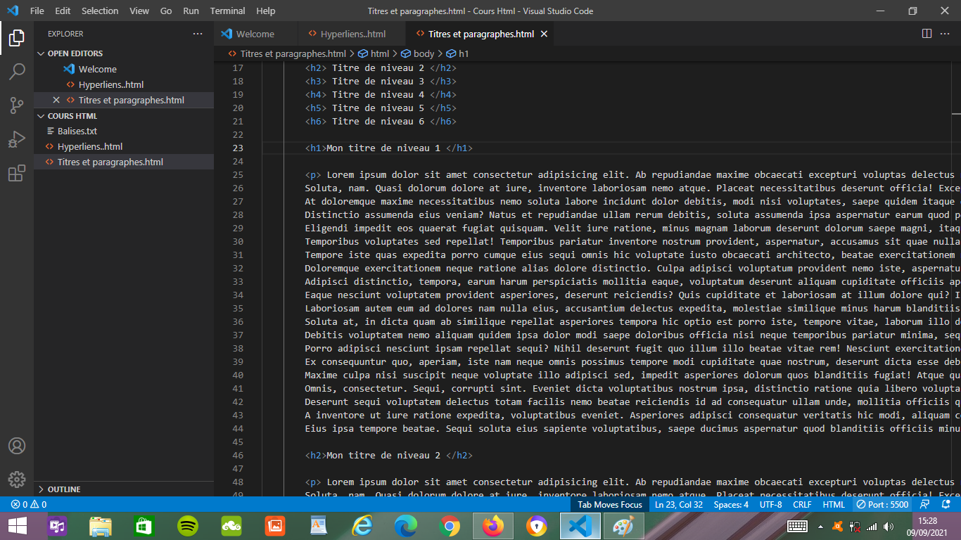 Imprime écran d'un affichage de code Html fait dans Visual Studio Code.